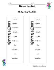 Friends Spelling Worksheet Packet Worksheet