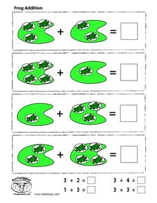 Frog Addition-Numbers 1-4 Worksheet