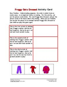 Froggy Gets Dressed Activity Card Worksheet