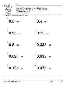 From Decimals to Fractions Worksheet 5 Worksheet