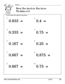 From Decimals to Fractions-Worksheet 6 Worksheet