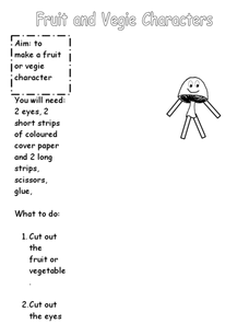 Fruit and Veggie Characters Worksheet
