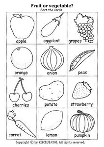Fruit Or Vegetable? Sort the Cards Lesson Plan