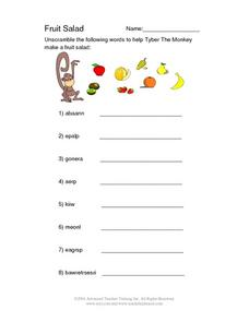 Fruit Salad--  Scrambled Words Worksheet