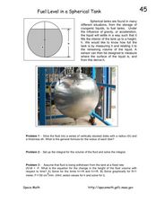 Fuel Level in a Spherical Tank Worksheet