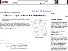 Full Multi-Digit Division Word Problems Worksheet