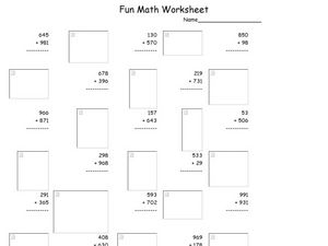 Fun Math 11 Worksheet