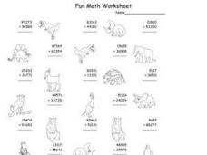 Fun Math: Add 2 Five-Digit Numbers Worksheet