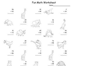 Fun Math: Adding 1 and 2-Digit Numbers #3 Worksheet