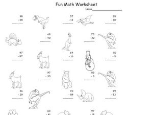 Fun Math: Subtract 1 and 2 Digit Numbers #3 Worksheet