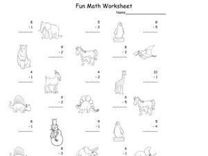 Fun Math: Subtract Numbers 1-10 Worksheet