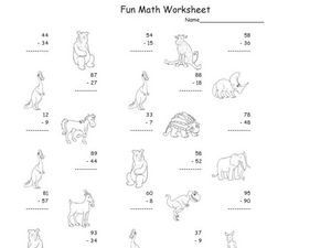 Fun Math: Subtracting 1 and 2-Digit Numbers #2 Worksheet