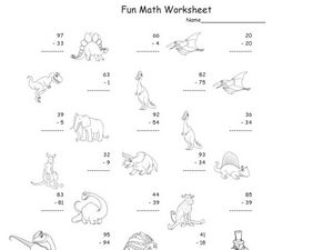 Fun Math: Subtracting 1 and 2 Digit Numbers Worksheet