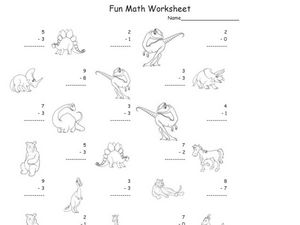 Fun Math: Subtracting 1-Digit Numbers #3 Worksheet