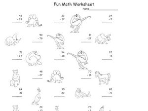 Fun Math: Subtracting 2-Digit Numbers #2 Worksheet