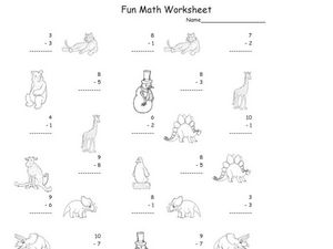 Fun Math Worksheet: 1-Digit Subtraction 2 Worksheet