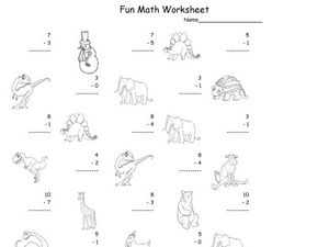 Fun Math Worksheet: 1-Digit Subtraction 8 Worksheet