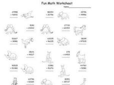 Fun Math Worksheet - Four and Five Digit Addition Worksheet