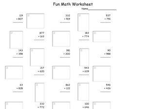 Fun Math Worksheet: Multiple Digit Addition 2 Worksheet