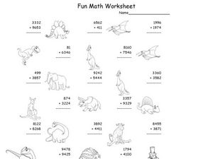 math worksheet : fun math worksheet multiple digit addition 2nd  4th grade  : Fun Addition Worksheet