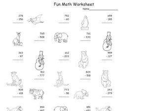 Fun Math Worksheet: Multiple Digit Subtraction 2 Worksheet