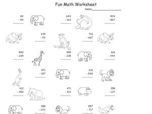 Fun Math Worksheet: Multiple Digit Subtraction 5 Worksheet