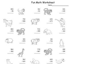 Fun Math Worksheet: Multiple Digit Subtraction 9 Worksheet
