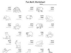 Fun Math Worksheet With Animal Pictures Worksheet