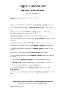 Fun With -ing Verbs 3 Worksheet