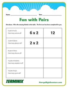 Fun with Pairs Worksheet