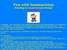 Fun with Summarizing Lesson Plan