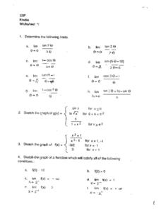 Functions, Limits, Graphs Worksheet