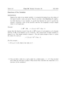 Functions of Two Variables Worksheet