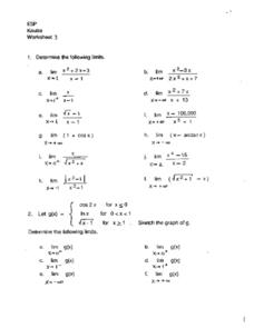 Functions, Sequences, Limits Worksheet