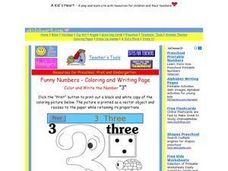 Funny Numbers-  The Number 3 Worksheet
