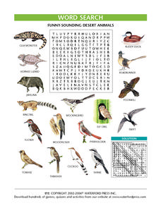 Funny-Sounding Desert Animals Worksheet