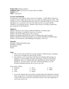 Furniture Defined Lesson Plan