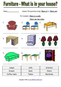 Furniture - What is in Your House? Worksheet