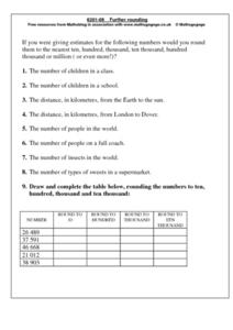 Further Rounding Worksheet