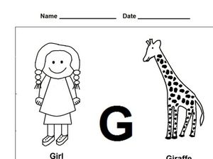 G Coloring and Printing Worksheet Worksheet