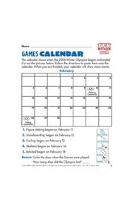 Games Calendar Lesson Plan