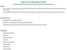 Games for Culminating Activity Lesson Plan