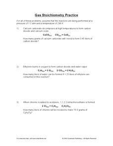 Gas Stoichiometry Practice 10th - 12th Grade Worksheet | Lesson Planet