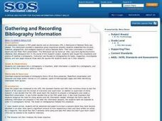 Gathering And Recording Bibliography Information Lesson Plan