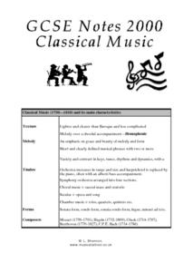 GCSE Notes 2000: Classical Music Lesson Plan