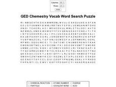 GED Chemistry Vocab Word Search Worksheet