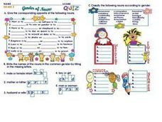 Gender of Nouns: Grade 3 Worksheet