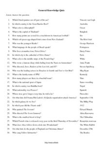 General Knowledge Quiz 5th - 6th Grade Worksheet | Lesson ...