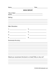 Generic Book Report Form Worksheet