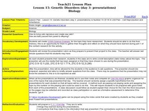 Genetic Disorders Lesson Plan